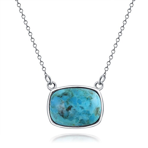 - Bali Style Bezel Set Cushion Cut Stabilized Turquoise Gemstone Station Pendant Necklace For Women 925 Sterling Silver