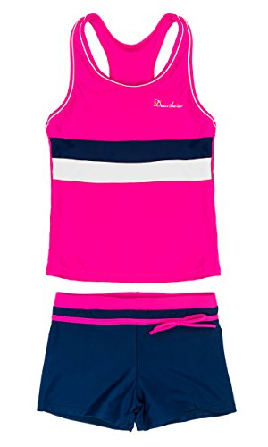 KABETY Little Girls Summer Two Piece Boyshort Fashion Tankini Swimsuit (Rose, 12-13=4XL)]()