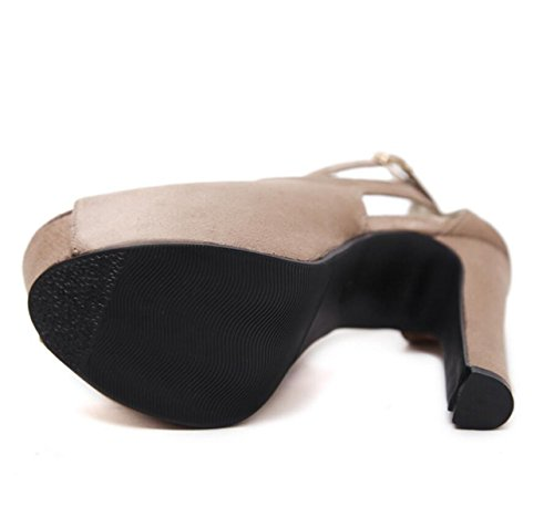 toe Linyi Été Talons forme Beige Plate Mode Sandales Stiletto Open Boucle Chaussures Femme Noir 11Cqrwz