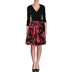 Diane von Furstenberg Women's Jewel Dress, Black/Floral Daze Large Pink, 0
