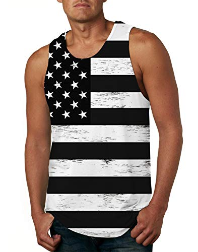 (Mens American Flag Sleeveless Shirts Stars Graphics 3D Tank Tops Workout USA Flags Vest Tees XX-Large )
