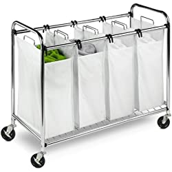 Honey-Can-Do SRT-01158 Heavy-Duty Quad Rolling Laundry Sorter/Hamper, Chrome