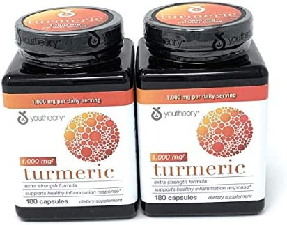 Youtheory Turmeric Extra Strength Formula Capsules 1,000 mg per Daily, 180 Count Pack of 2 vi ckA