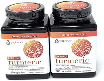 Youtheory Turmeric Extra Strength Formula Capsules 1,000 mg per Daily, 180 Count (Pack of 2) vi&ckA