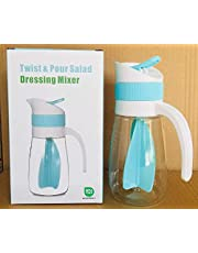 Salad Dressing Mixer Bottle 450ml,Salad Spinners,Salad Dressing Shaker withhandle,Multifunctional Storage Container for Kitchen Household (Light Blue)