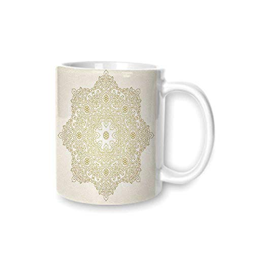 Gold Mandala Practical Mark Cup,Antique Lace Pattern Blooming Asian Garden Theme Filigree Style Traditional Decorative For Hold Water,Z(diameter)8.2G9.5