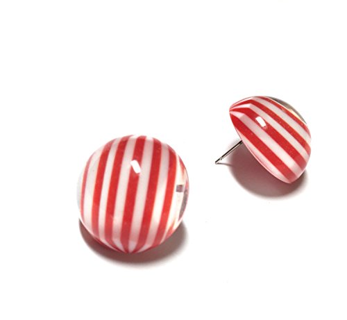 - Red and White Striped Retro Button Studs Earrings | Vintage Lucite Studs