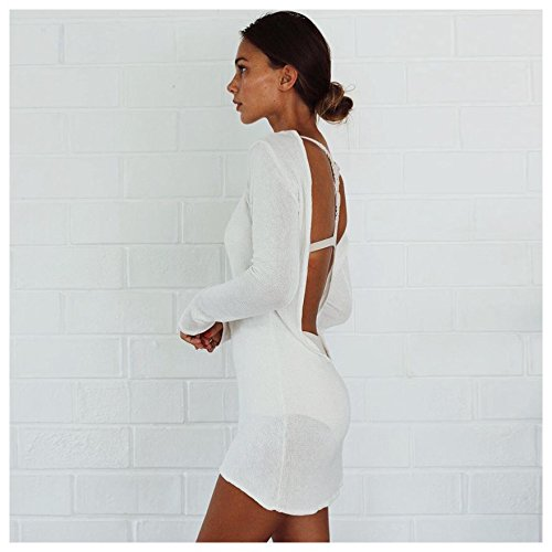 dec423de0f9 TOOGOO(R) Women Summer Autumn Sexy Sweater Dress Women Solid White O-neck  Long Sleeve Backless Mini Dresses Knitted Dresses(WHITE, M/US~6/UK~10) at  Amazon ...