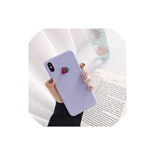 (Cute 3D Fruit Banana Peach Grape Macaron Silicone Pink Phone case for iPhone X XR XS MAX 6S 7 8 Plus for Samsung S10 S9 S8 Note,C,for iPhone 8 Plus )