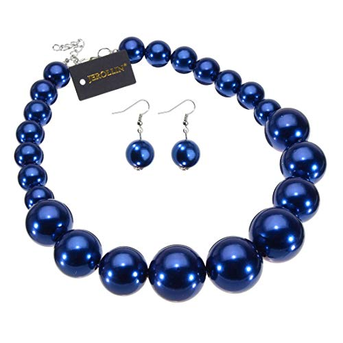 Fashion Large Big Simulated Pearl Statement Necklace Blue Beads Chain Choker Collar Bib Necklace Earrings Jewelry Set