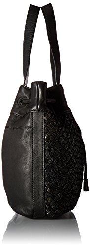 Liebeskind Berlin Women's Topeka Leather Snakeskin Handwoven Bucket Bag, Oil Black by Liebeskind Berlin (Image #3)