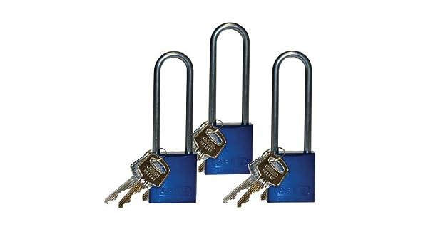 6 Keys 12 Blue Padlocks, 3 in Emedco Aluminum Shackle Locks