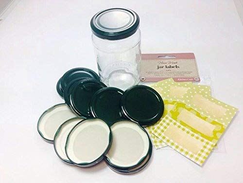 Pack of 12 (standard) 63mm Dark Green Jam Jar lids with 30 co-ordinated green and gold labels Wares of Knutsford