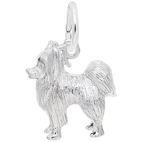 Dog, Papillon Charm In Sterling Silver, Charms for Bracelets and Necklaces (Charm Papillon)