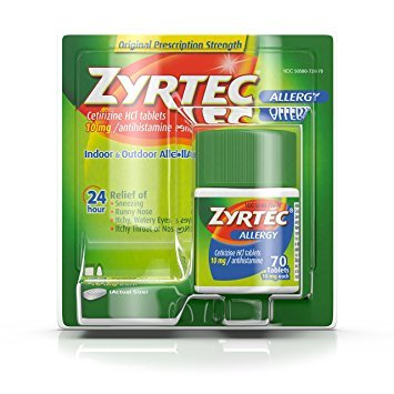 Zyrtec Prescription-Strength Allergy Medicine Tablets With Cetirizine, 70 Count, 10 mg - Pack of 6 by Zyrtec Z
