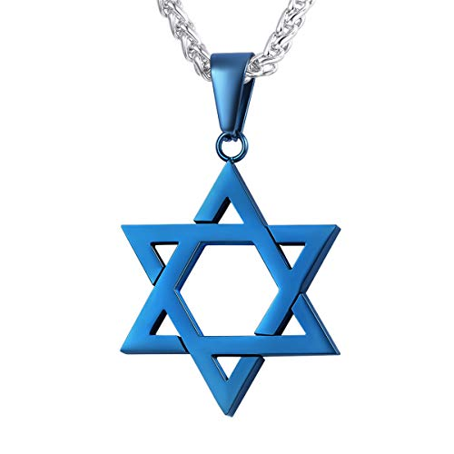 U7 Ion-Plating Blue Star of David Necklace with Stainless Steel Chain Jewish Israel Pendant Gift