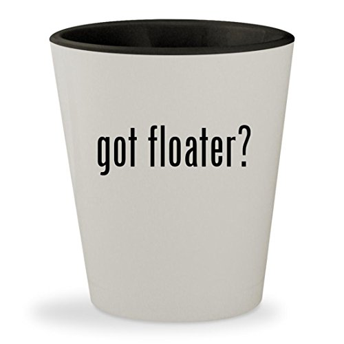 got floater? - White Outer & Black Inner Ceramic 1.5oz Shot Glass (Floater Pellets)