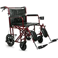 Medline Heavy Duty Bariatric Transport Chair, Extra Wide 22 Seat, Permanent Full-Length Arms, Elevating Legrests, Red Frame