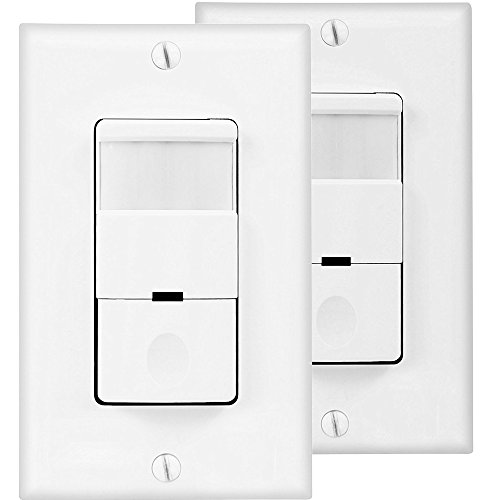 TOPGREENER Motion Detector Light Switch, in Wall Sensor Switch, Occupancy Sensor Switch 500W LED CFL 1/8HP, Wall Plates Included, Neutral Wire Required, TDOS5, White, 2 Pack Decora Motion Sensor Occupancy Switch