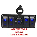 Switchtec 4 Gang Rocker Switch Panel with QC 3.0 USB Charger and Voltmeter, Blue Backlit LED, Pre-Wired All Waterproof Components for Boat, Marine, Car, Truck, Jeep, Can Am, Razor(QC 3.0 & 4 Switch)