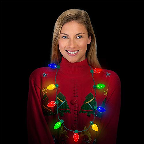 Gotian 3PCS LED Light Up Holiday Bulb Necklace Party Favors Ugly Family Celebrations Party - 3 x Decoration Light,Family Celebrations, Holiday Birthdays, Secret Santas, Office