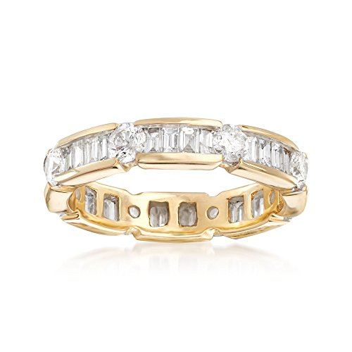 Ross-Simons 2.00 ct. t.w. Baguette and Round Diamond Eternity Band in 14kt Yellow ()