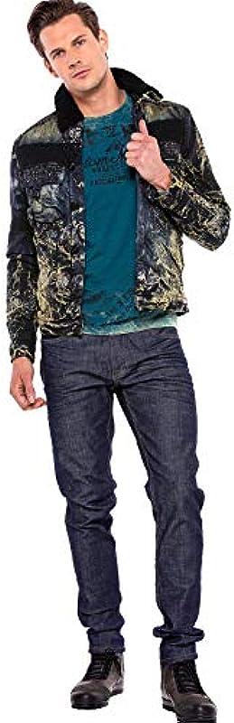 Cipo & Baxx Męskie dżinsy spodnie Basic Casual 5-kieszeniowe Denim Regular Fit Washed Jeans Pants spodnie ciemnoniebieskie W32 L34: Odzież