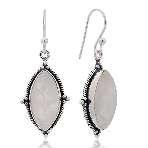 Vintage Moonstone Earrings (925 Sterling Silver Moonstone Vintage Marquise Shape Rope Edge Dangle Hook Earrings 1.4