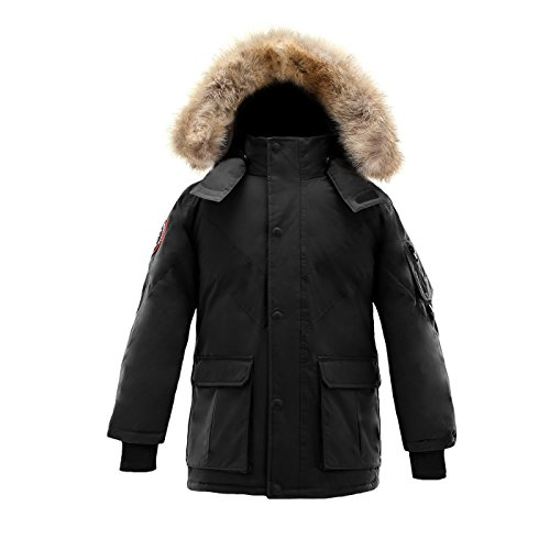Triple F.A.T. Goose Hesselberg Boys Hooded Goose Down Arctic Parka With Real Coyote Fur (7, Black) by Triple F.A.T. Goose