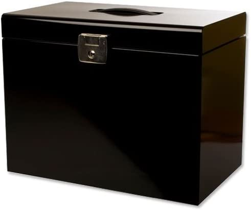 Pierre Henry Metal File Box with 5 Suspension Files Tabs and Inserts A4 W370xD220xH290mm Black Ref 040155