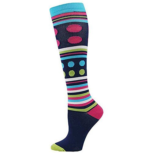 Think Medical Womens Printed 8mmHG Compression Sock (Stripe and Dot)