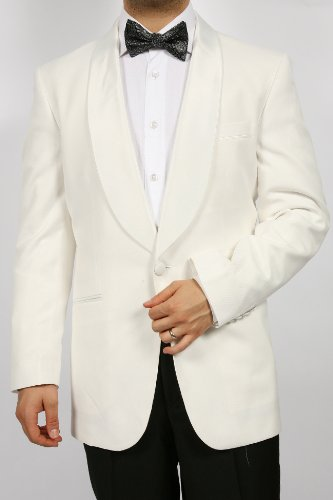 Men's one Button Shawl Collar Dinner Jacket (Casual, Traditional) - White
