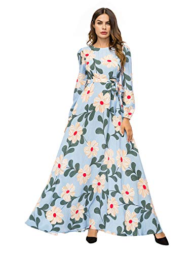 fb28a7b077 Yuntown Women Muslim Dress Robes Flower Printed Maxi Dresses Oversized