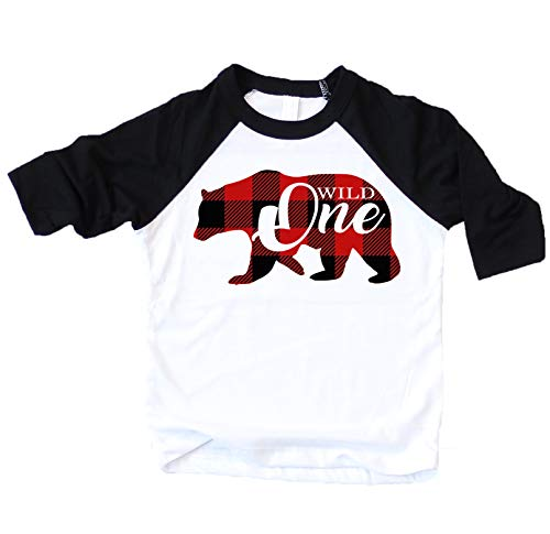 Birthday Boy Bear - Plaid Bear Wild One 1st Birthday Shirt for Boys First Birthday Outfit Black 3/4 Sleeve Raglan