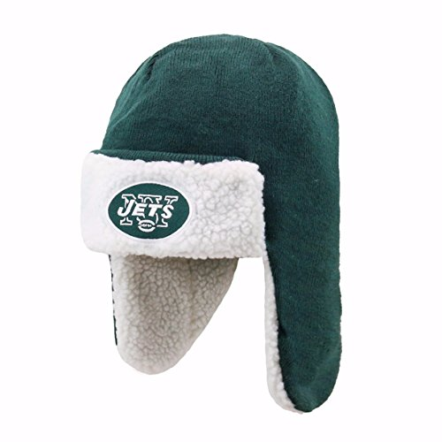 NFL New York Jets Breck OTS Sherpa Hunter Knit Cap, Dark Green, One Size ()