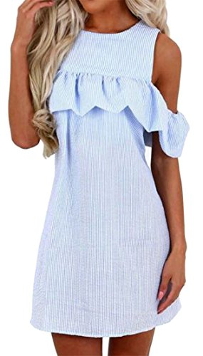Womens Cromoncent Shoulder Stripe Wathet Ruffled Dresses Zip Cold Casual Summer drqT4r
