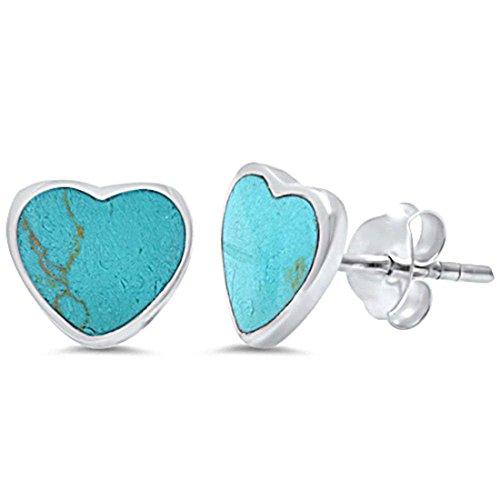 Sterling Silver Turquoise Heart Earrings (Heart Stud Earrings Simulated Turquoise 925 Sterling Silver)