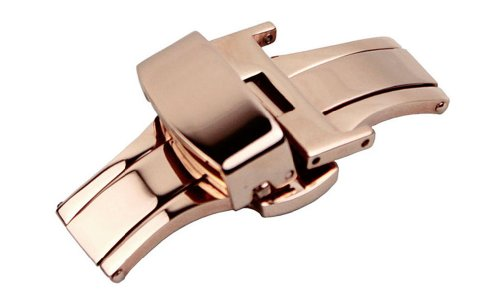 14mm Clasp - RECHERE Stainless Steel Push Button Butterfly Deployment Clasp for Leather Watch Band Strap Rose Gold(14mm)