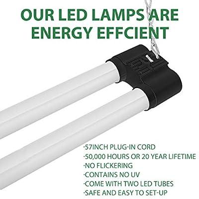 Bbounder 4 Pack Linkable LED Utility Shop Light, 4 FT, 48 Inch Integrated Fixture for Garage, 36W Equivalent 250W, 5000K Daylight, Surface + Suspension Mount, Black