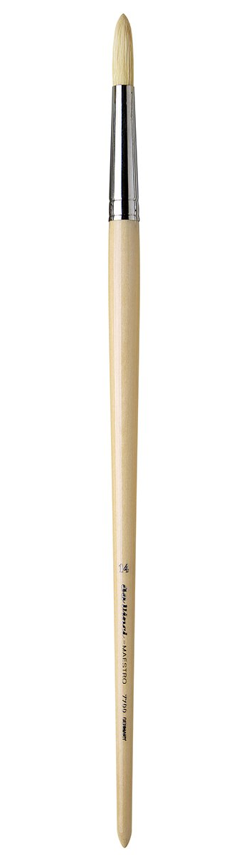 da Vinci Hog Bristle Series 7700 Maestro Artist Paint Brush, Round Medium-Length Hand-Interlocked with Natural Polished Handle, Size 14 (7700-14)