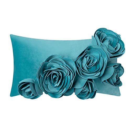 JWH 3D Handmade Accent Pillow Case Rose Flower Cushion Cover Super Soft Velvet Decorative Pillowcase Home Sofa Car Bed Living Room Office Chair Decor Shell Girl Gift 12 x 20 Inch Blue