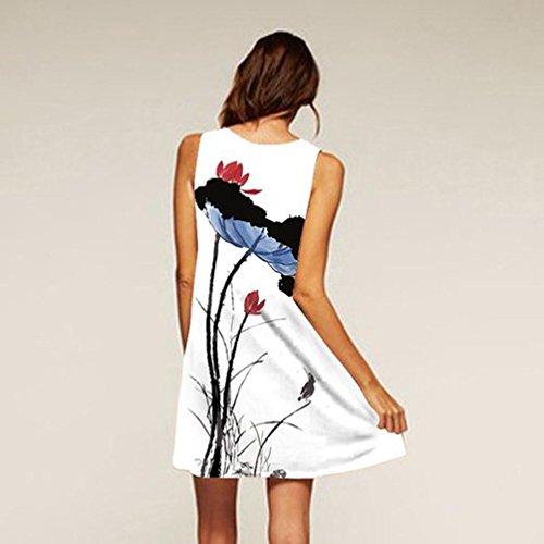 Zarupeng Allentato Estate Vestito Loto Senza Donna Bianco Abito Casual Chiffon Spalline Popolare Top Stampa Vestiti Foglia xBxwfrY