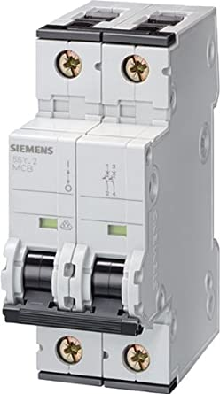 Siemens 5SY42066 Supplementary Protector Tripping Characteristic B DIN Rail mounted 6 Ampere Maximum UL 1077 Rated 2 Pole Breaker