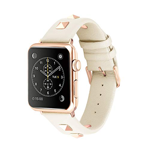 (Solomo Compatible for Apple Watch Band 42mm 44mm, Fashion Women Genuine Leather Replacement Strap 3D Studs Spikes Rivets Rock Punk Rose Gold Metal Adapter Buckle iWatch Series 4/3/2/1 (Creamy White))