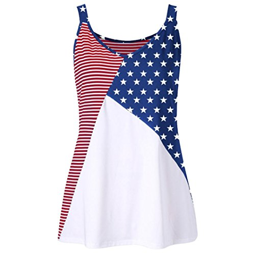 kaifongfu Clearance Sale Women American Flag Print Striped Stars O-Neck Tank Tops Shirt Blouse Plus Size Round Striped Vest (XL, Multicolor) (80s Wool Sweater)