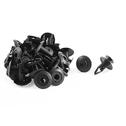 eDealMax 30 piezas de plástico Negro Interior parachoques del remache