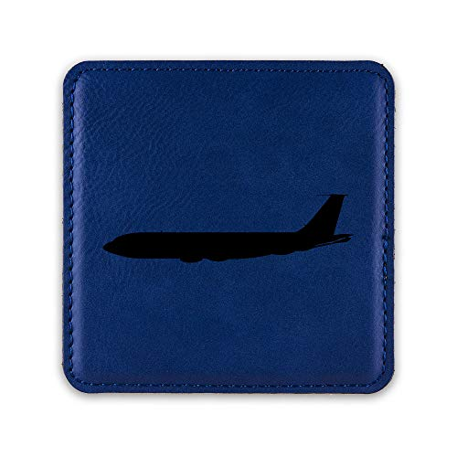 (KC-135 Stratotanker Drink Coaster Leatherette Coasters KC 135 aerial refuelling USAF - Blue - Set of Six Coasters)