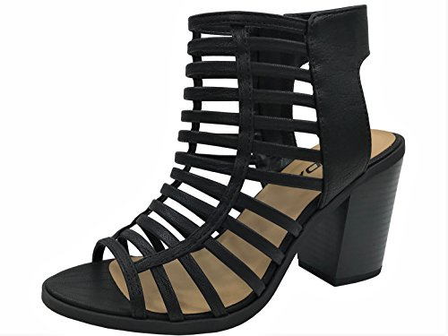 Womens Open Toe Strappy Caged Sandal Ankle Strap Chunky Mid Heel, Black, 8 (Sandal Toe Open Lady Strappy)