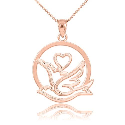 Collier Femme Pendentif 10 Ct Or Rose Amour Dove avec Cœur (Livré avec une 45cm Chaîne)