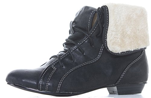 Pop Womens Ladies Low Heel Flat Lace Up Zip Combat Military Army Ankle Boots Size Style 47 - Black